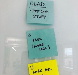 Post-it notes from a retrospective workshop